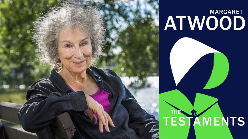 Margaret Atwood and the book jacket for The Testaments