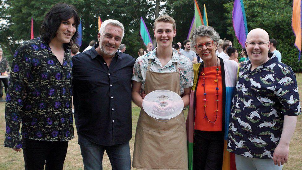 Noel Fielding, Paul Hollywood, this year's winner Peter Sawkins, Prue Leith and Matt Lucas