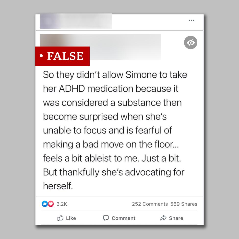 Screengrab of social post about Simone Biles