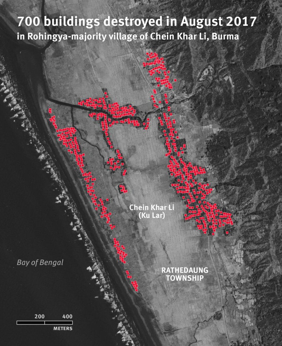 Human Rights Watch satellite imagery, which they say shows a destroyed Rohingya village