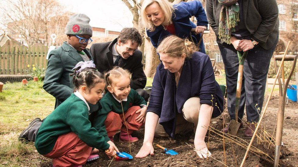 Children at Griffin Primary, London plant trees