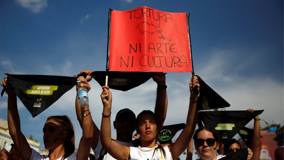 """An animal rights activist holds a banner that reads """"Torture, neither art, nor culture"""" at the start of a demonstration to demand a ban on bullfighting in Madrid"""