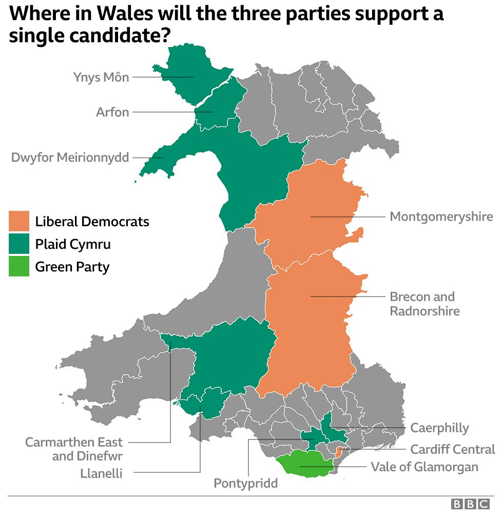 Map showing whether three pro-Remain parties will stand down to support each other in Wales