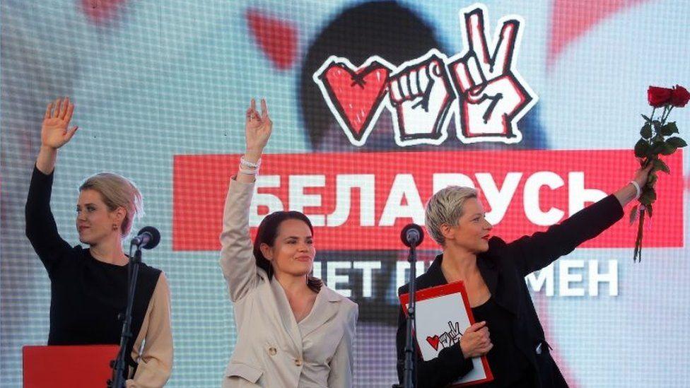 Svetlana Tikhanovskaya (centre), Maria Kolesnikova, a representative of politician Viktor Babariko's campaign office (right), and Veronika Tsepkalo, wife of opposition figure Valery Tsepkalo, at a rally in Minsk, Belarus. Photo: 30 July 2020