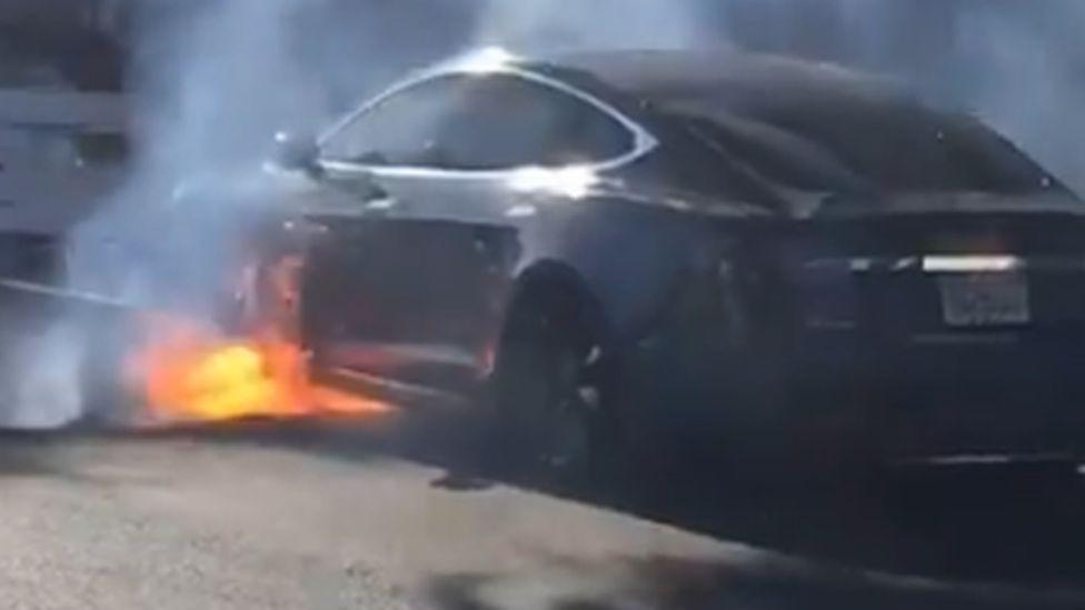 Michael Morris' Tesla on fire in Los Angeles