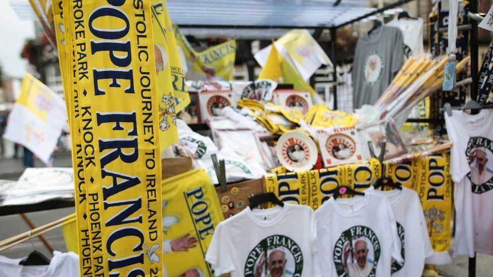 Memorabilia on sale during Pope Francis' visit