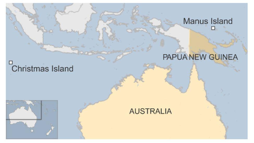 Map of Manus in relation to Australia