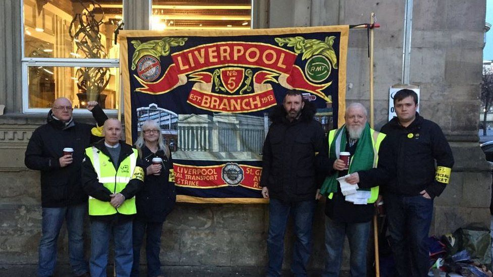 Strikers at Liverpool Lime Street