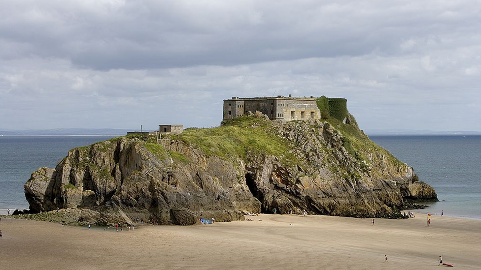 St Catherine's island and fort, Castle beach, Tenby