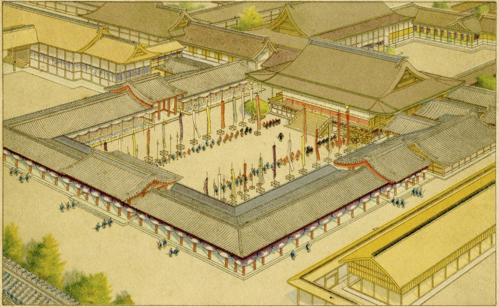 Old drawing of the coronation of Emperor Taisho at the Imperial Palace in  Kyoto, Japan