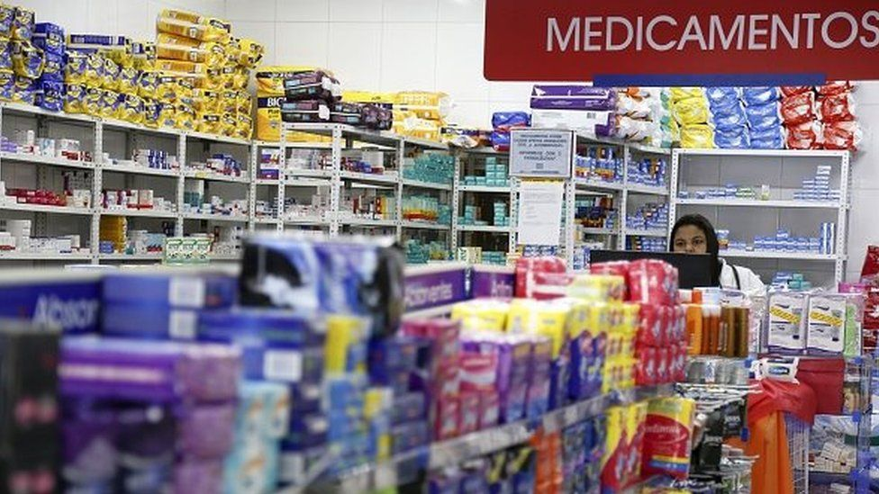 View of a drugstore in Sao Paulo, Brazil on March 13, 2015