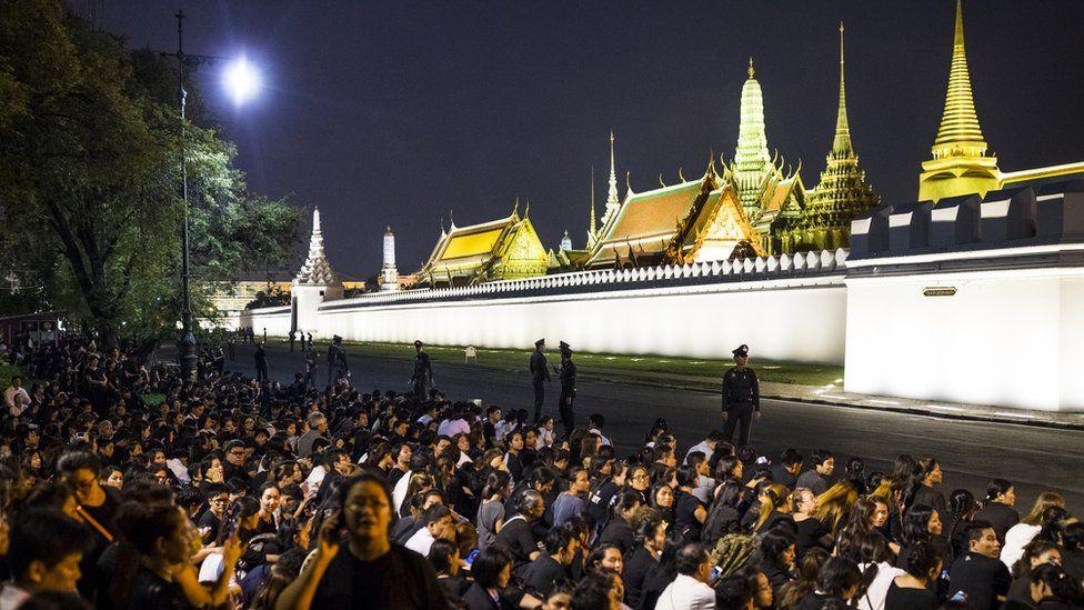 Crowds outside Bangkok's royal palace