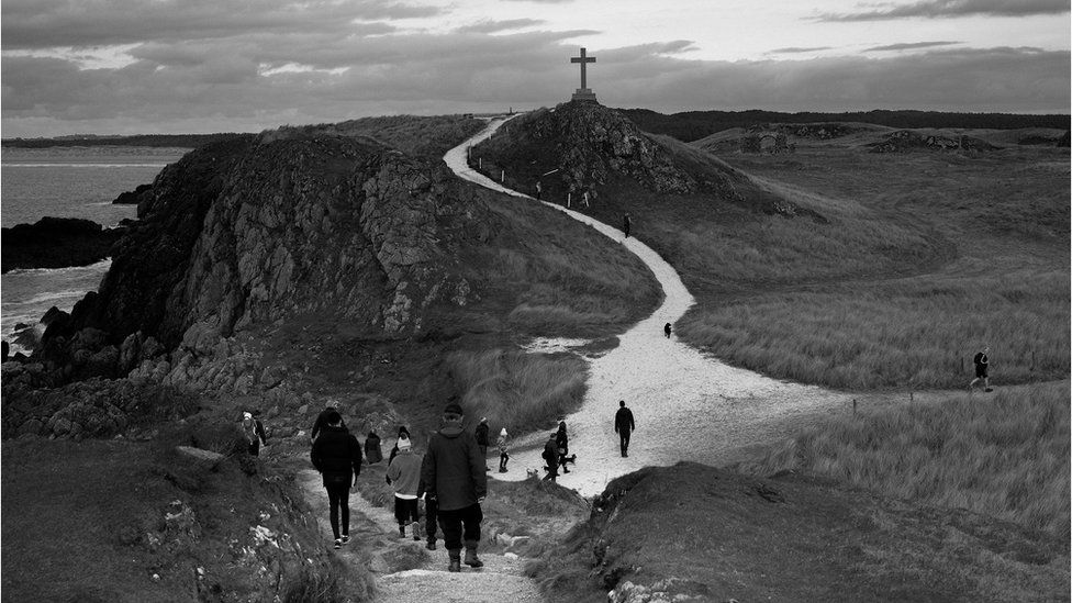 A path leading to a cross in Llanddwyn, Anglesey