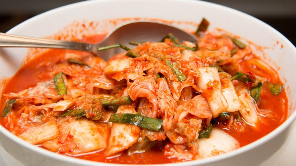 A traditional Korean dish of fermented vegetables called kimchi