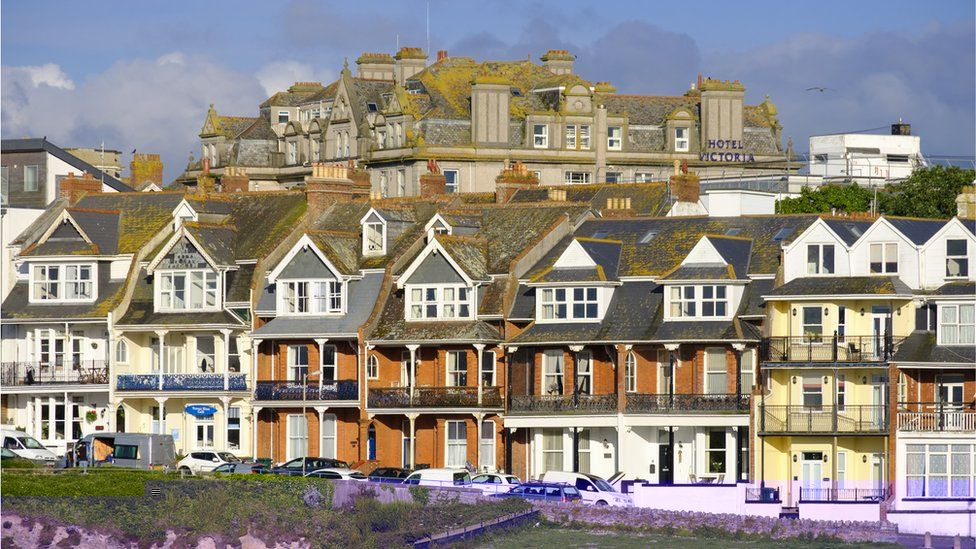 Row of houses in Newquay Cornwall
