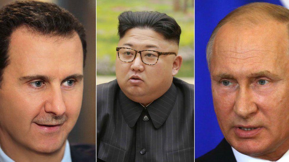 Assad (L) Kim (C) and Putin (R)