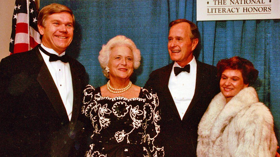 John Corcoran and his wife with Barbara and George Bush