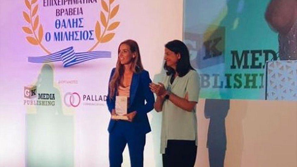 Niki Kerameus (R) with Eleni Antoniadou