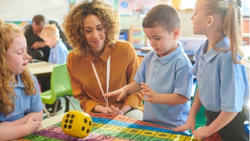 Children in a classroom with teacher