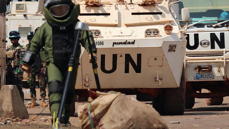 A UN worker in de-mining gear in the Central African Republic
