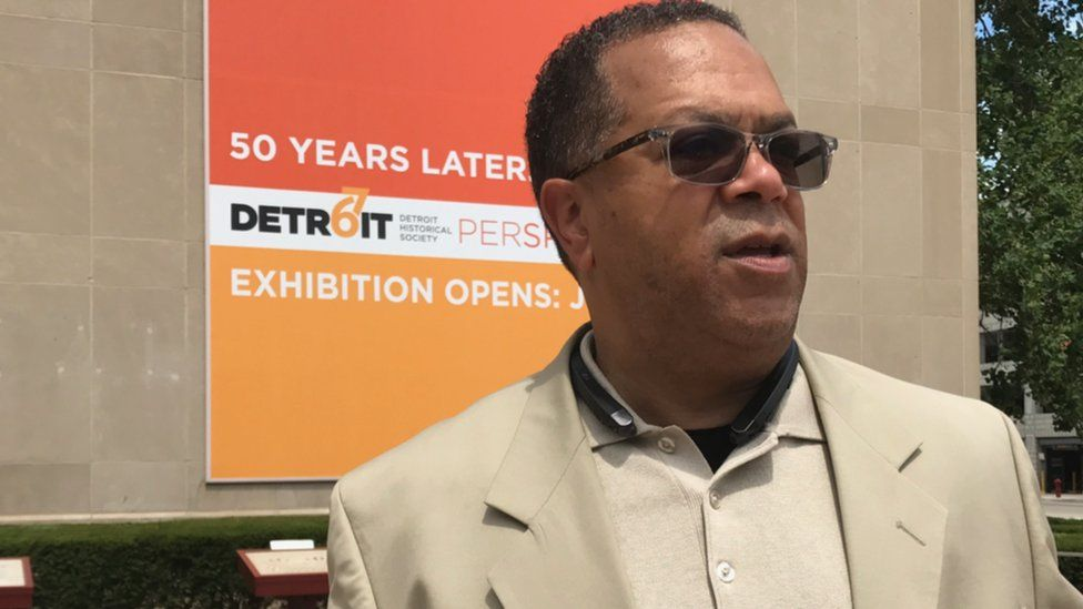 Darryle Buchanan reflects on the Detroit 1967 riots outside the Detroit Historical Museum.