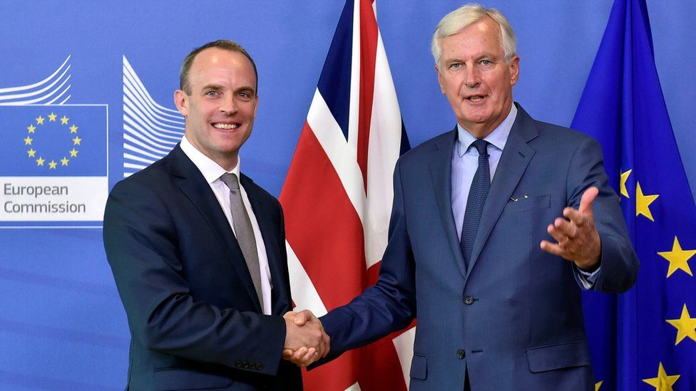 Secretary of State for Exiting the European Union Dominic Raab and the European Union's chief Brexit negotiator Michel Barnier in Brussels on 31 August 2018