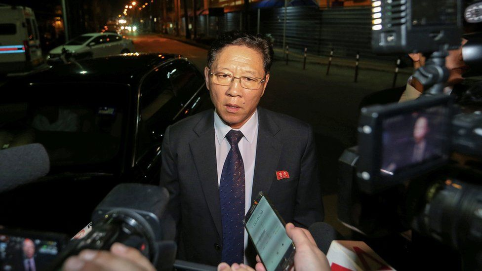 North Korea's ambassador to Malaysia, Kang Chol addresses the media on February 18, 2017 at the main gate of the forensic wing at the Kuala Lumpur Hospital, where the body of Kim Jong-Nam, the half brother of the North Korean leader, is being kept. Kang Chol said Pyongyang would reject any results of a post-mortem examination carried out by Kuala Lumpur on the body of Kim Jong-Nam.