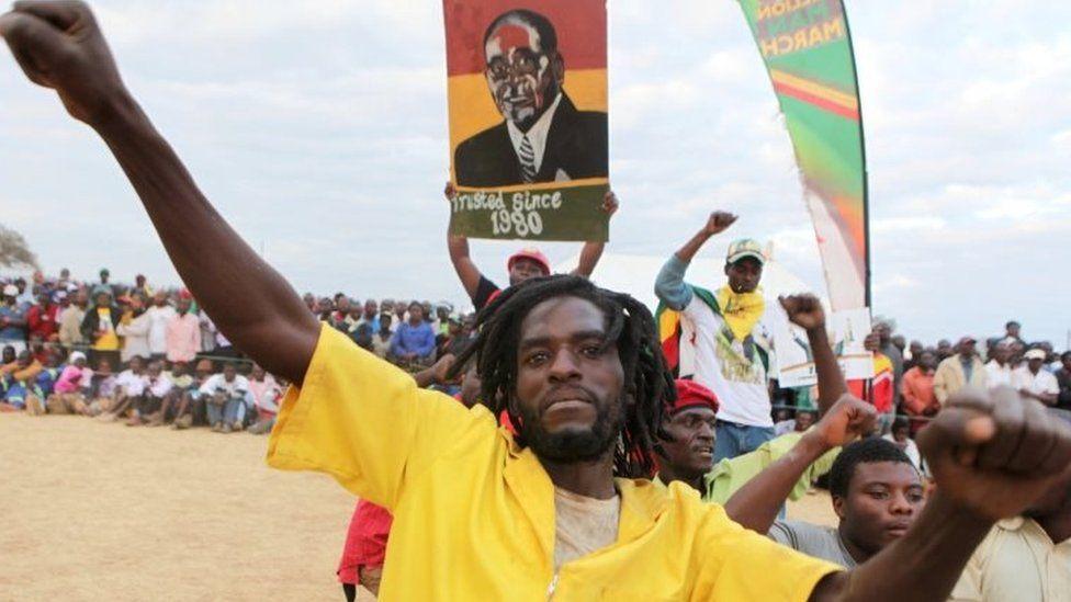 A supporter of President Mugabe in Bindura