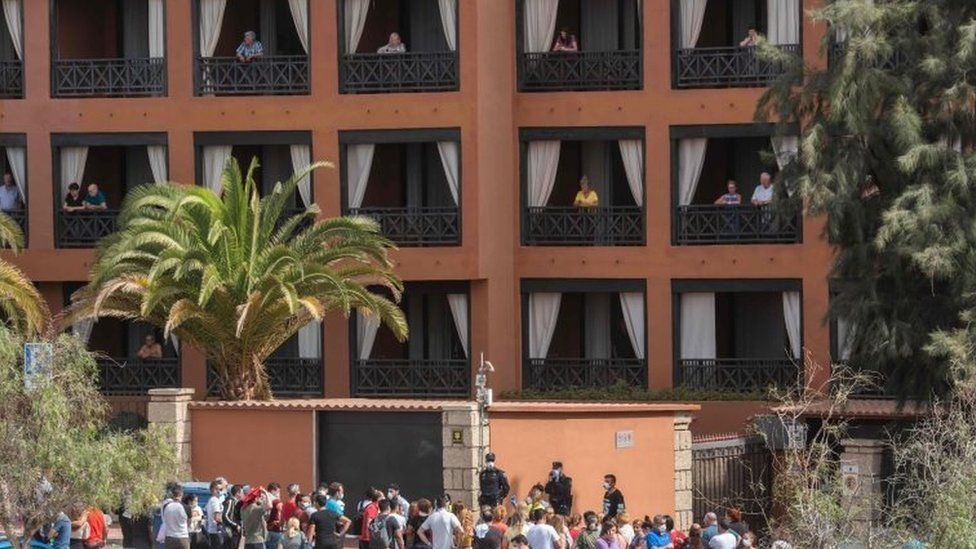 The H10 Costa Adeje Palace Hotel in La Caleta, Tenerife, where hundreds of people are trapped