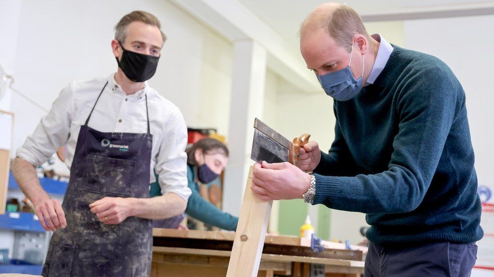 Prince William visits a workshop which makes furniture from recycled pews and other responsibly-resourced wood at the Grassmarket Community Project, a social enterprise set up by Greyfriars Kirk