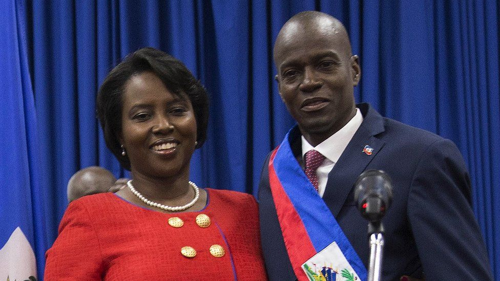 Haitian President Jovenel Moïse (right) poses with his wife Martine. Photo: 2017