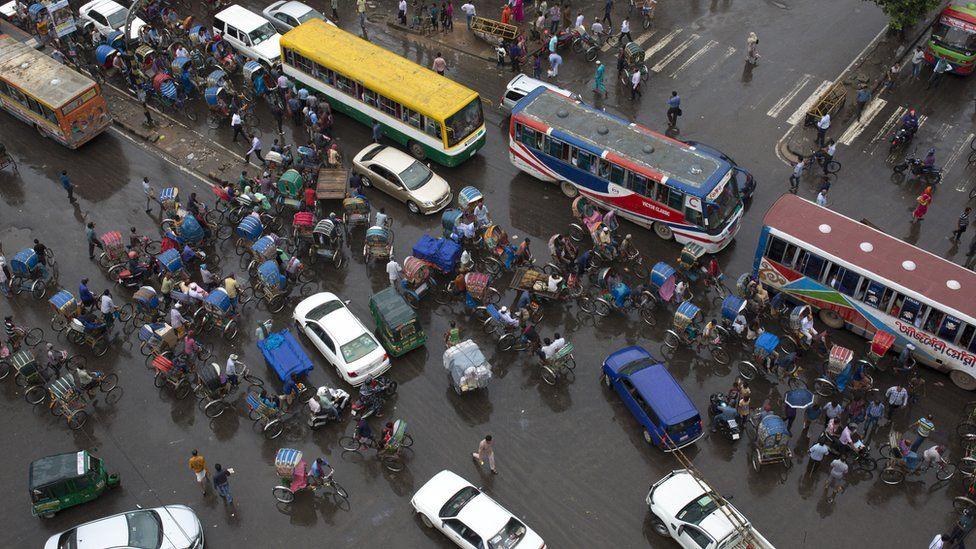 Ariel view of Dhaka street