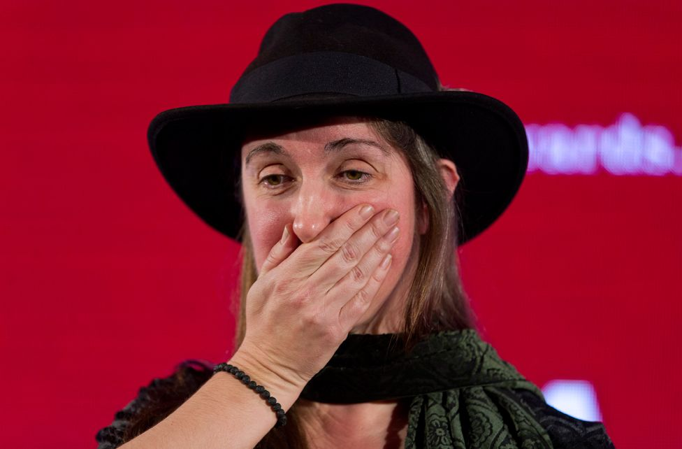 British author Frances Hardinge reacts after being awarded the overall winner of the Costa Book Awards 2015 for her Children's Book The Lie Tree in London on January 26, 2016.