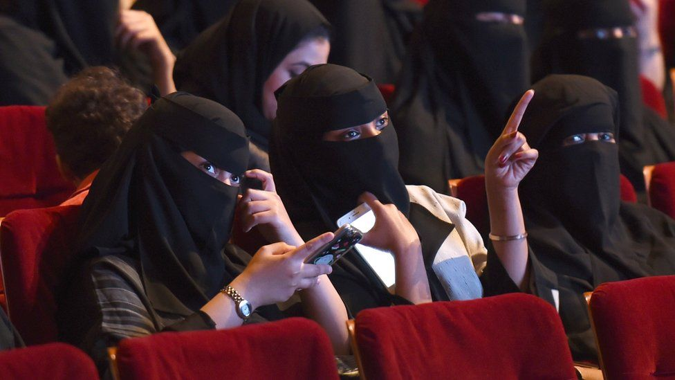 Saudi women attend a short-film festival in Riyadh on 20 October 2017