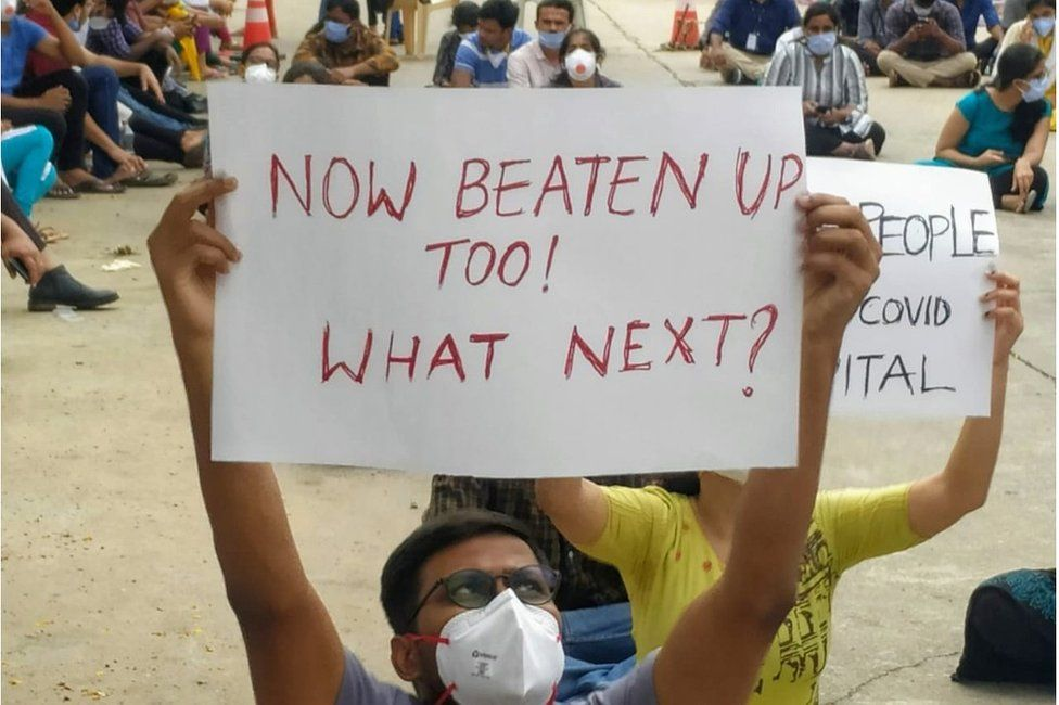 Dr Reddy, in the front, at a protest.