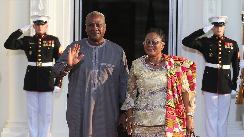 President Mahama and his wife Lordina at the White House in 2014.