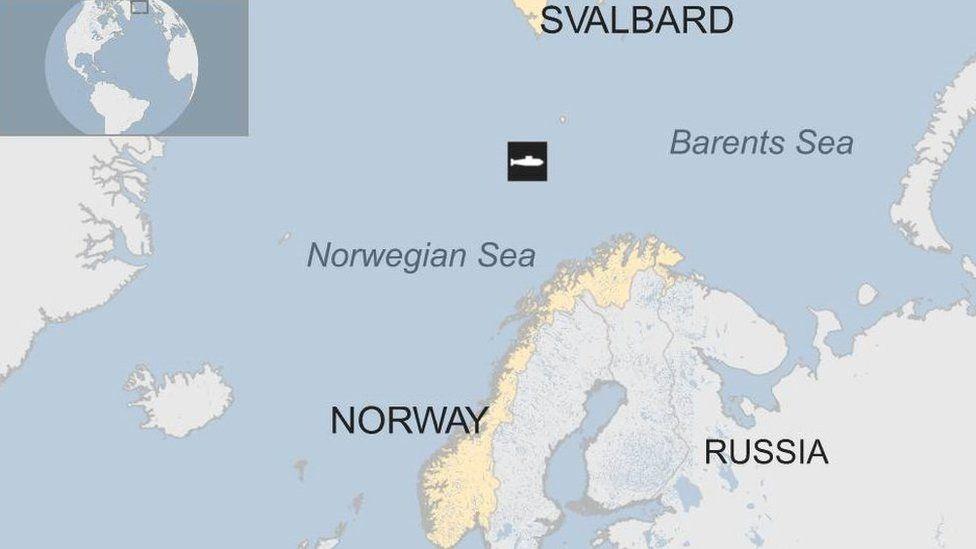 Arctic map showing submarine location