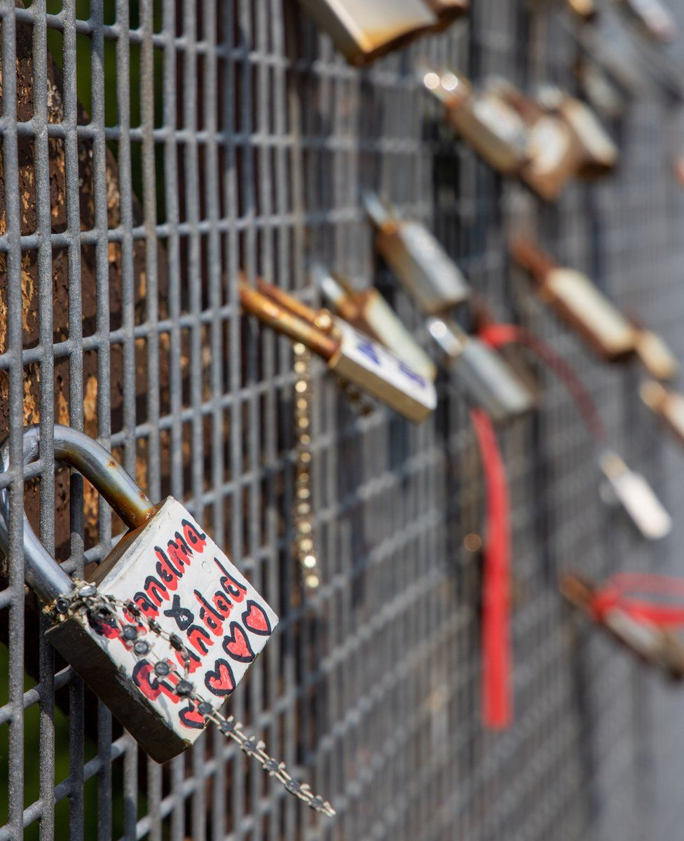 Locks attached to railings