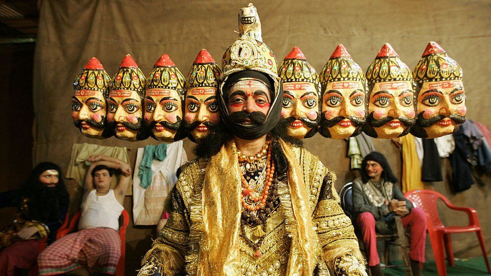 An artist dressed up as th 10 faced Ravana from the mythological Ramayana at Shivaji Park for a Ram Lila show on the occasion of Dassera.
