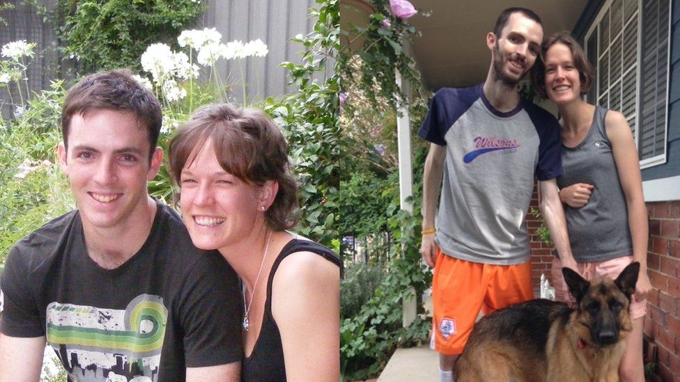 Two images of Dan and Alyce side by side; one image shows much weight he has lost