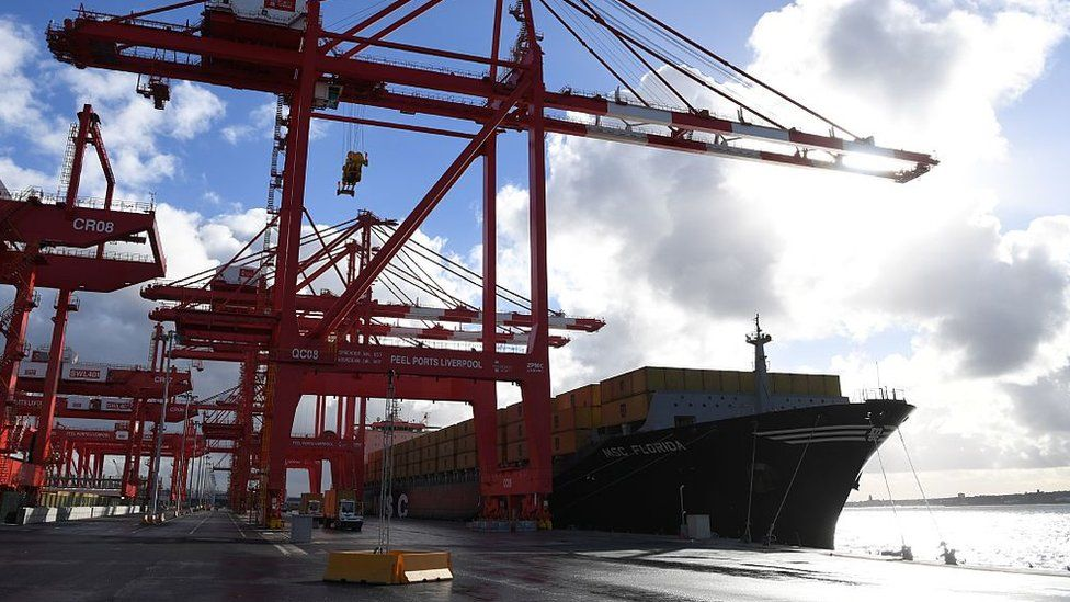 A container ship is moored up in the new Peel Ports container terminal in Liverpool