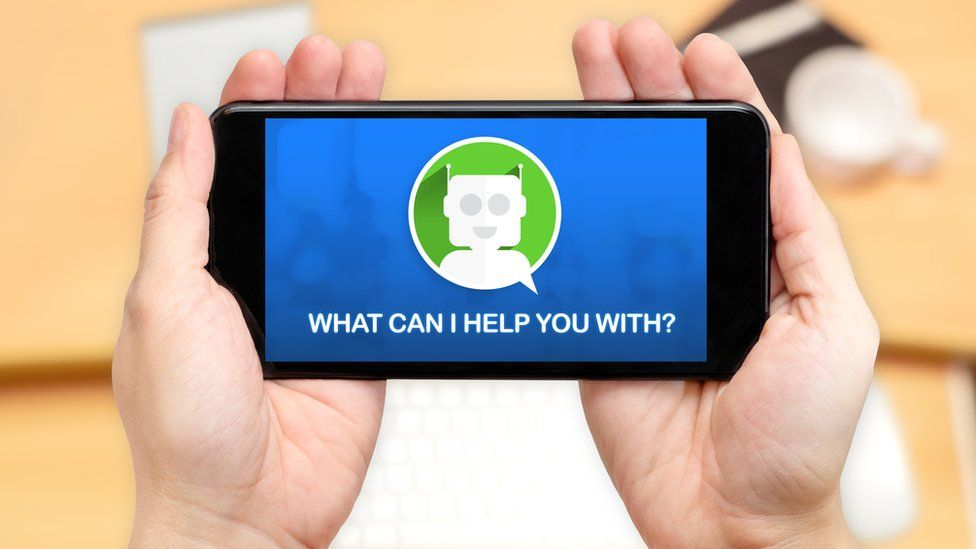 Someone looking at chatbot helper on a smartphone