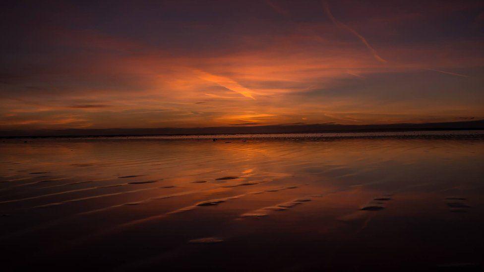 Sunset at Cefn Sidan beach in Carmarthenshire