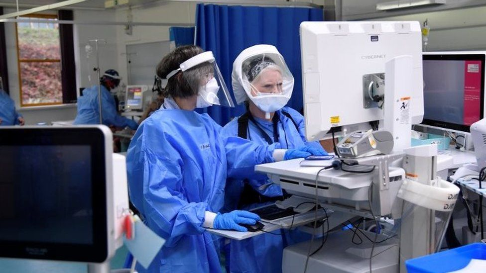 Nurses monitor patients on a COVID-19 ward at Milton Keynes University Hospital