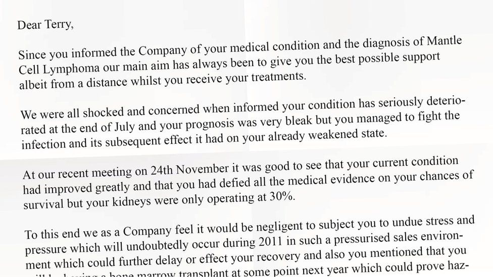 Letter sent to Terry Foster