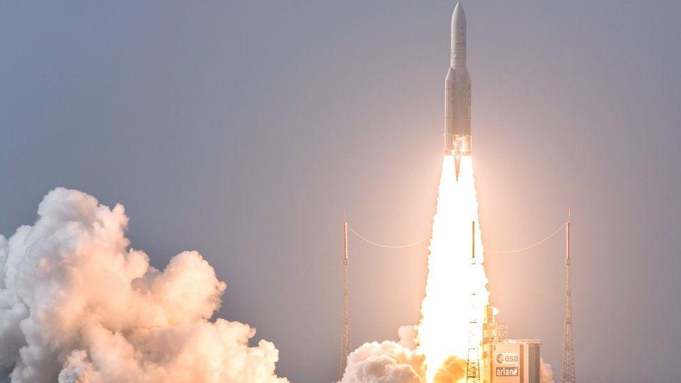 Ariane rocket launch, Kourou, Apr 2015