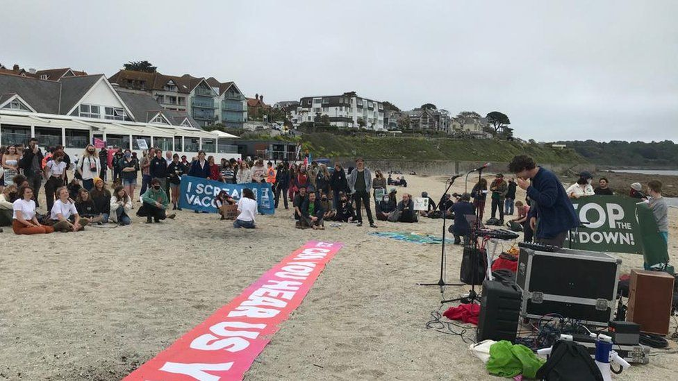 Falmouth protesters on the beach