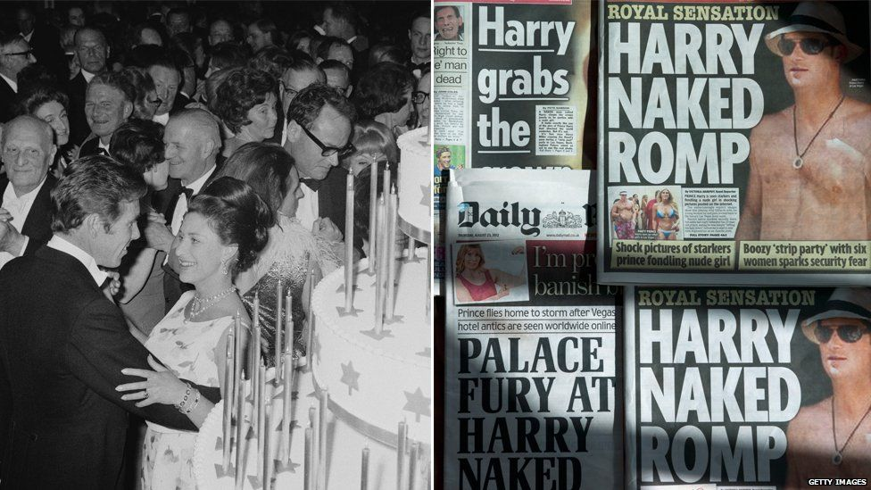 (L) Princess Margaret enjoyed a social occasion; (R) Harry got into hot water over a pool party in Vegas
