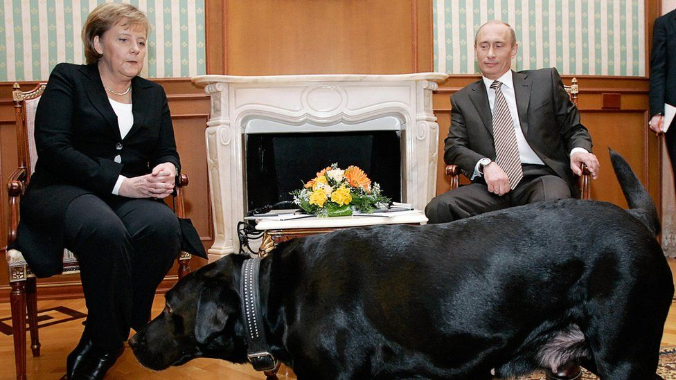 Russian President Vladimir Putin (R) and German Chancellor Angela Merkel are watched by Putin's dog Koni as they address journalists after their working meeting at the Bocharov Ruchei residence in Sochi, 21 January 2007.