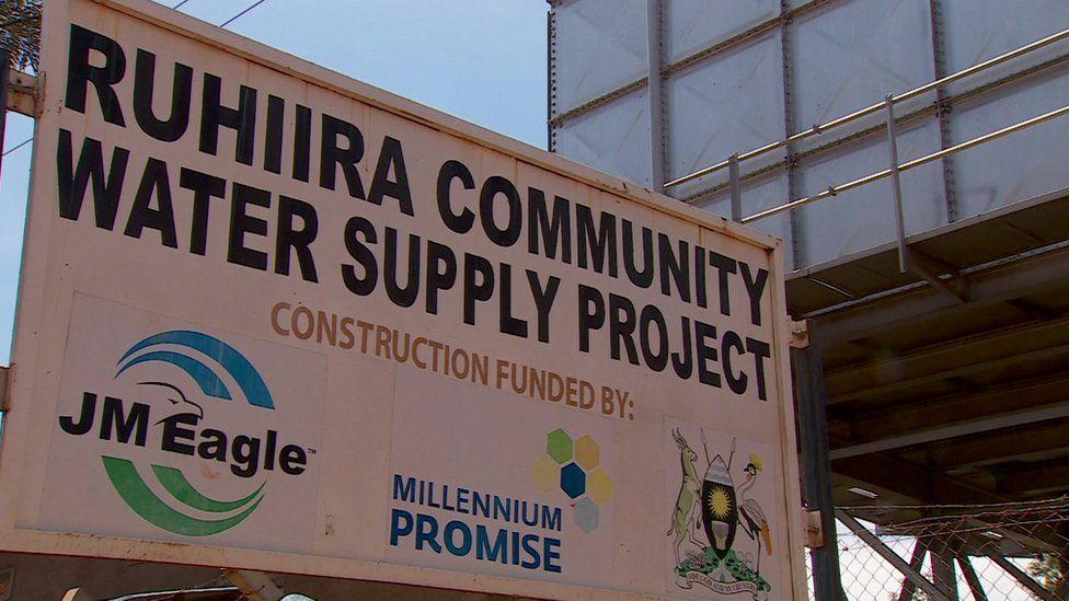 A water signboard in Ruhiira , Uganda